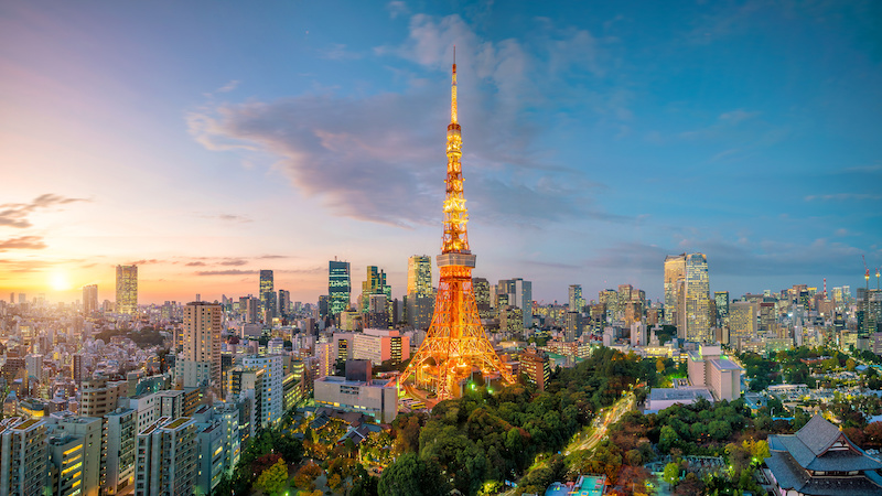 Tokyo city view with Tokyo Tower - best cities to visit in Japan