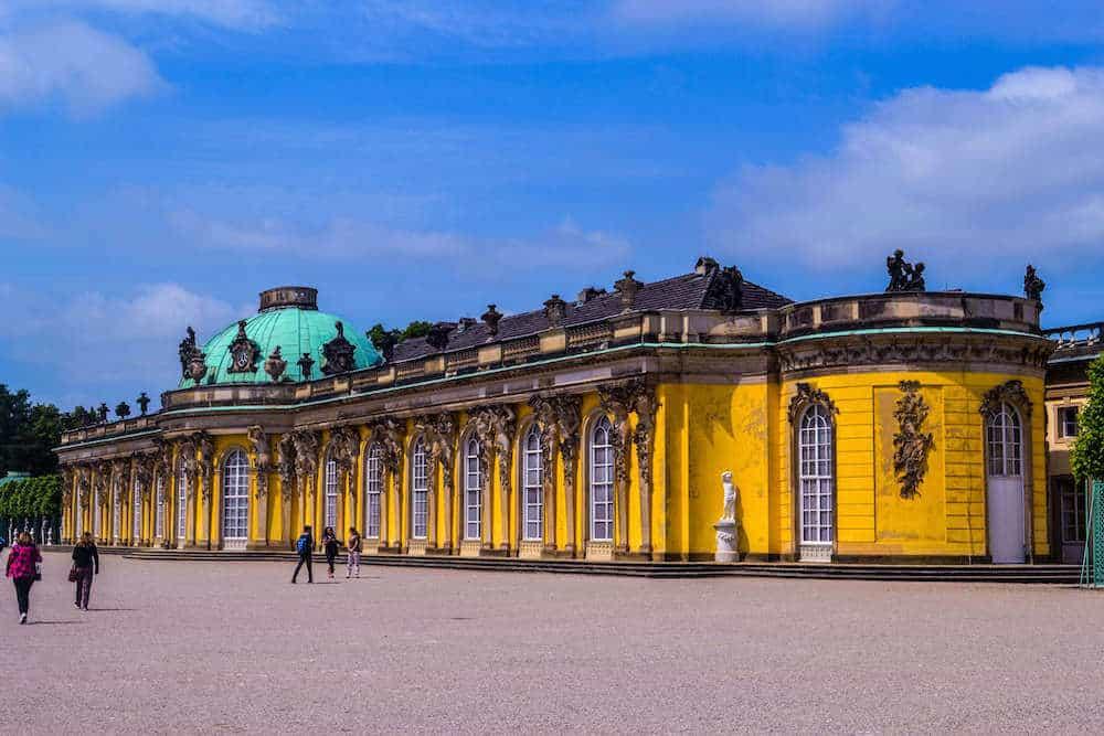 The beautiful yellor Sanssouci Palace in Potsdam, Germany