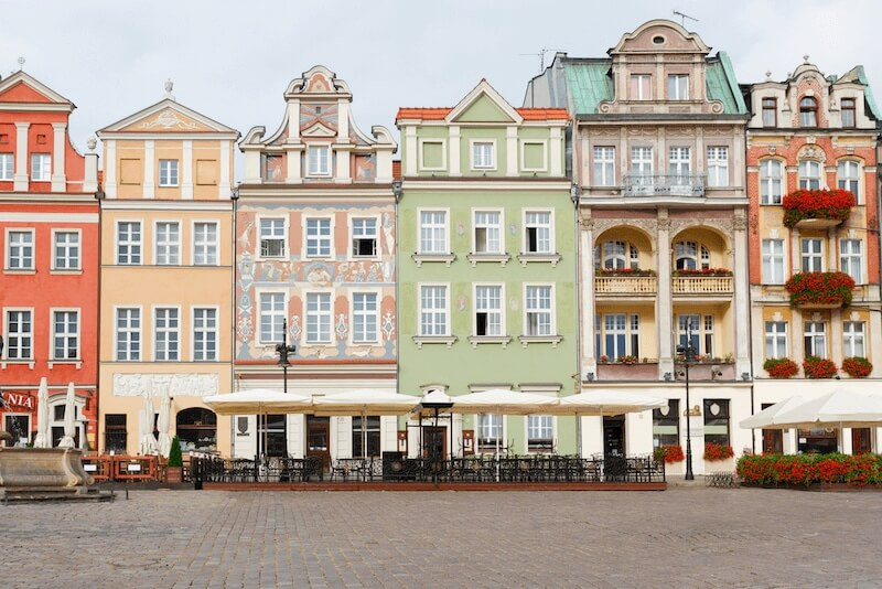 Colorful buildings in a row in Poznan, Poland, days trip from Berlin