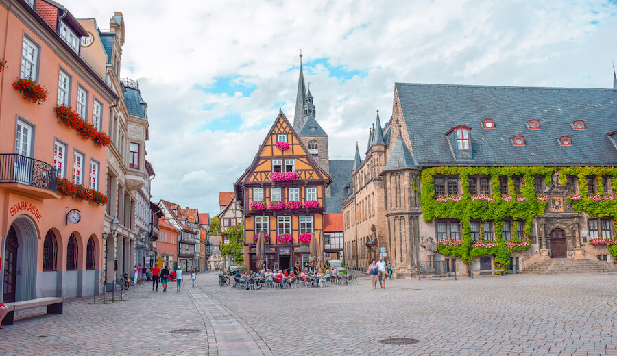The main square of charming Quedlinburg, Germany