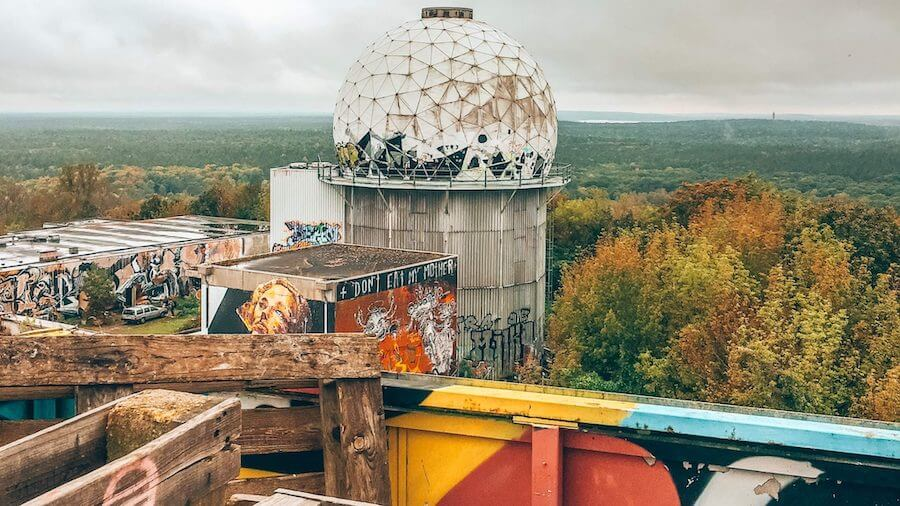 Teufelsberg listening tower and colorful art exhibits, located just outside of Berlin, Germany